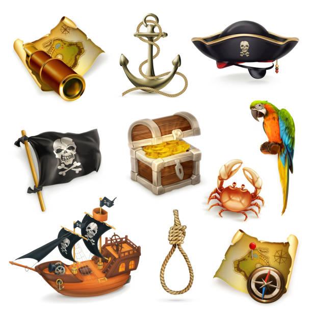 sea pirates, vector icon set - pirates stock illustrations, clip art, cartoons, & icons