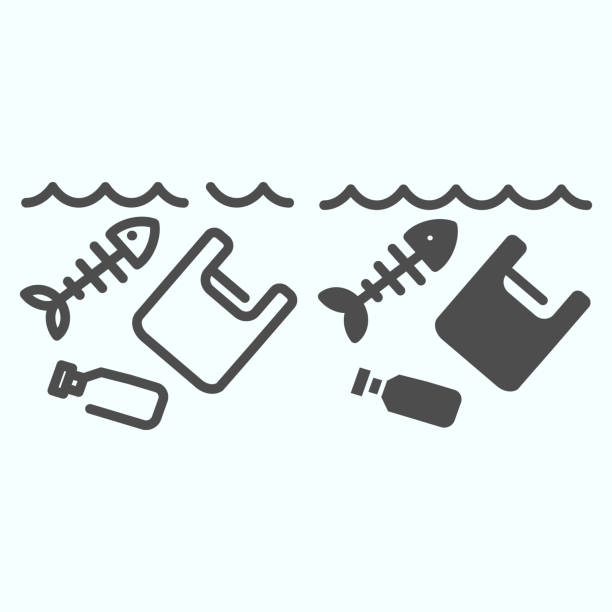 Sea pollution line and solid icon. Dirty ocean pollution illustration isolated on white. Plastic garbage and bottle with fish skeleton outline style design, designed for web and app. Eps 10. Sea pollution line and solid icon. Dirty ocean pollution illustration isolated on white. Plastic garbage and bottle with fish skeleton outline style design, designed for web and app. Eps 10 plastic pollution stock illustrations