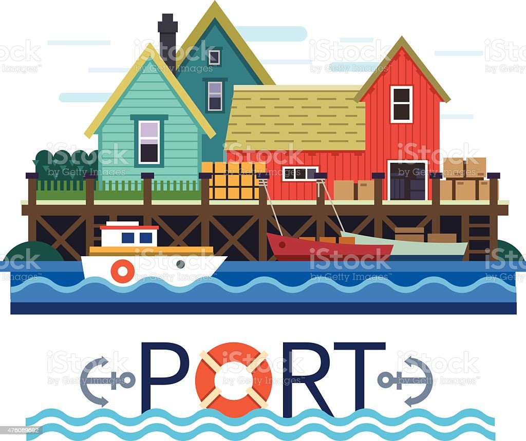 Sea Port. Boats with a cargo vector art illustration