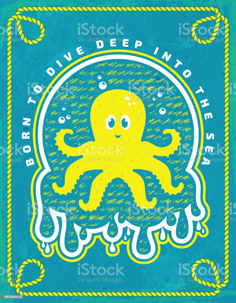 Sea poster. Vector emblem with octopus. - Royalty-free Animal stock vector