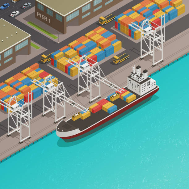 ilustrações de stock, clip art, desenhos animados e ícones de sea river port isometric composition - porto