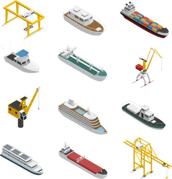 海の川の港アイソメトリックセット - 船舶点のイラスト素材/クリップアート素材/マンガ素材/アイコン素材