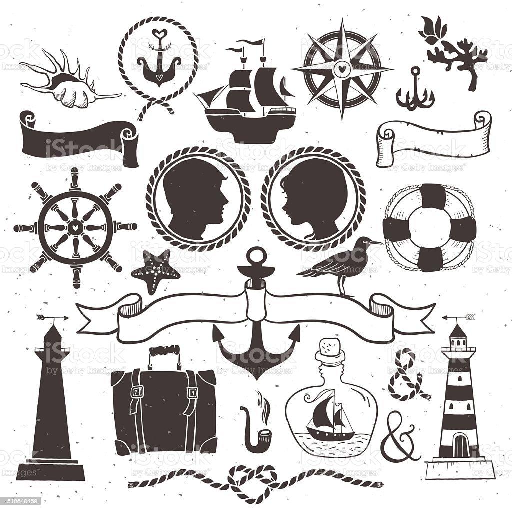 Sea romantische Reisen.  hand drawn Vintage-Elementen – Vektorgrafik