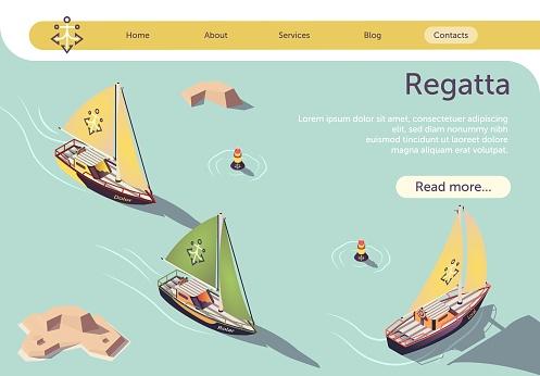 Sea Sailing Regatta Banner Design with Sail Boat