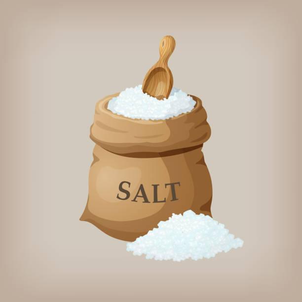 Sea salt in jute sack. Vector illustration Sea salt in jute sack. Vector illustration salt stock illustrations
