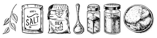 Sea salt set. Glass bottles, packaging and and leaves, wooden spoons, powdered powder, spice in the hand. Vintage background poster. Engraved hand drawn sketch Sea salt set. Glass bottles, packaging and and leaves, wooden spoons, powdered powder, spice in the hand. Vintage background poster. Engraved hand drawn sketch salt seasoning stock illustrations