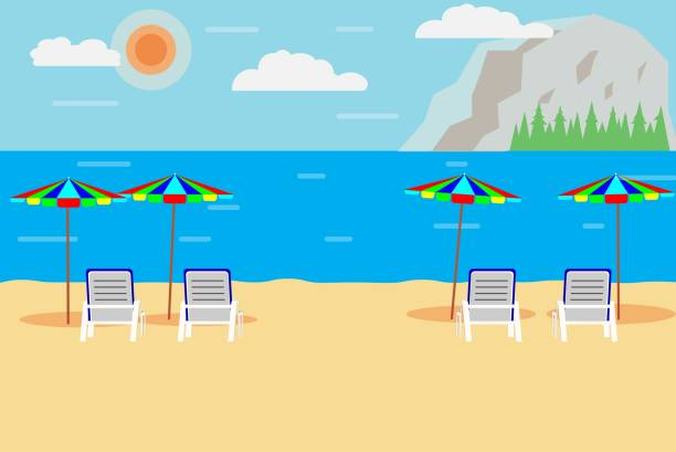 sea sand beach and mountain with relax chair and colorful umbrella- Illustration vector art illustration