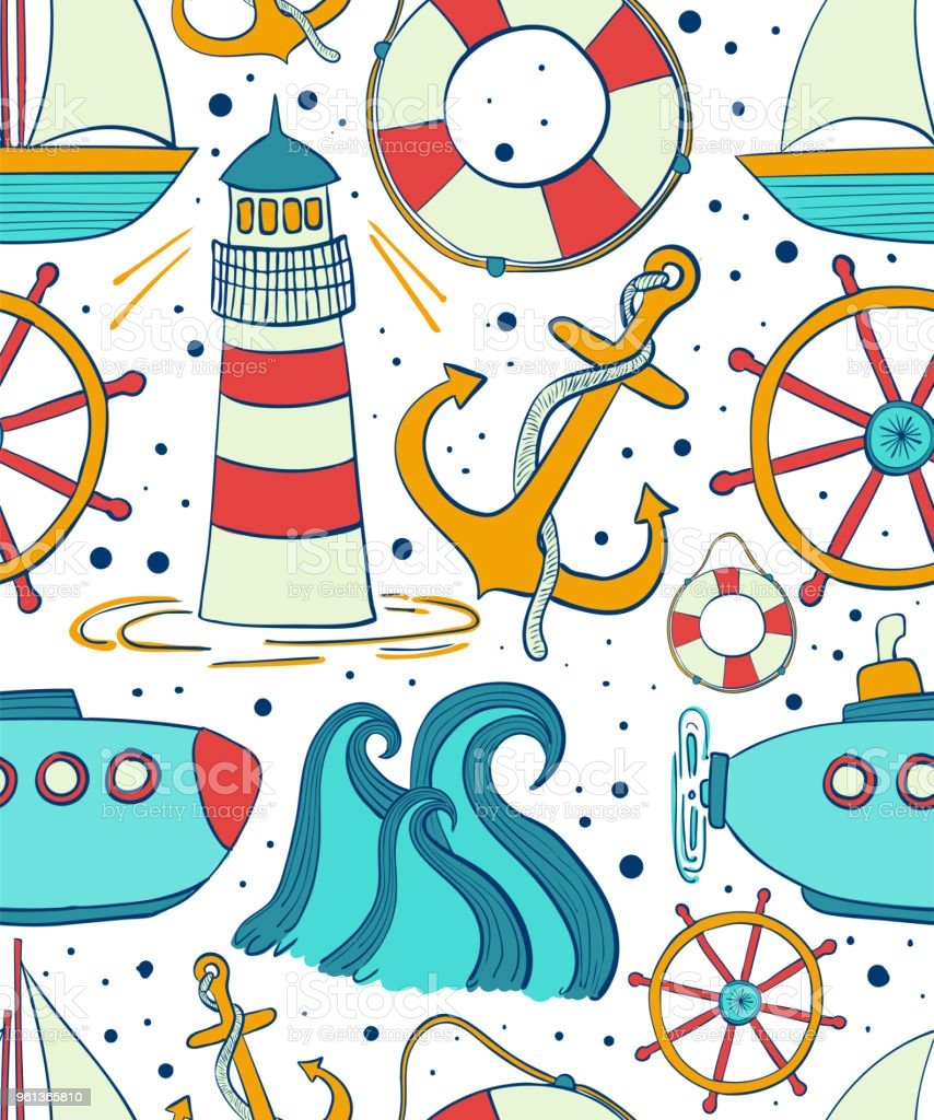 Sea Seamless Pattern Childrens Background Of Marine Themes Boyish