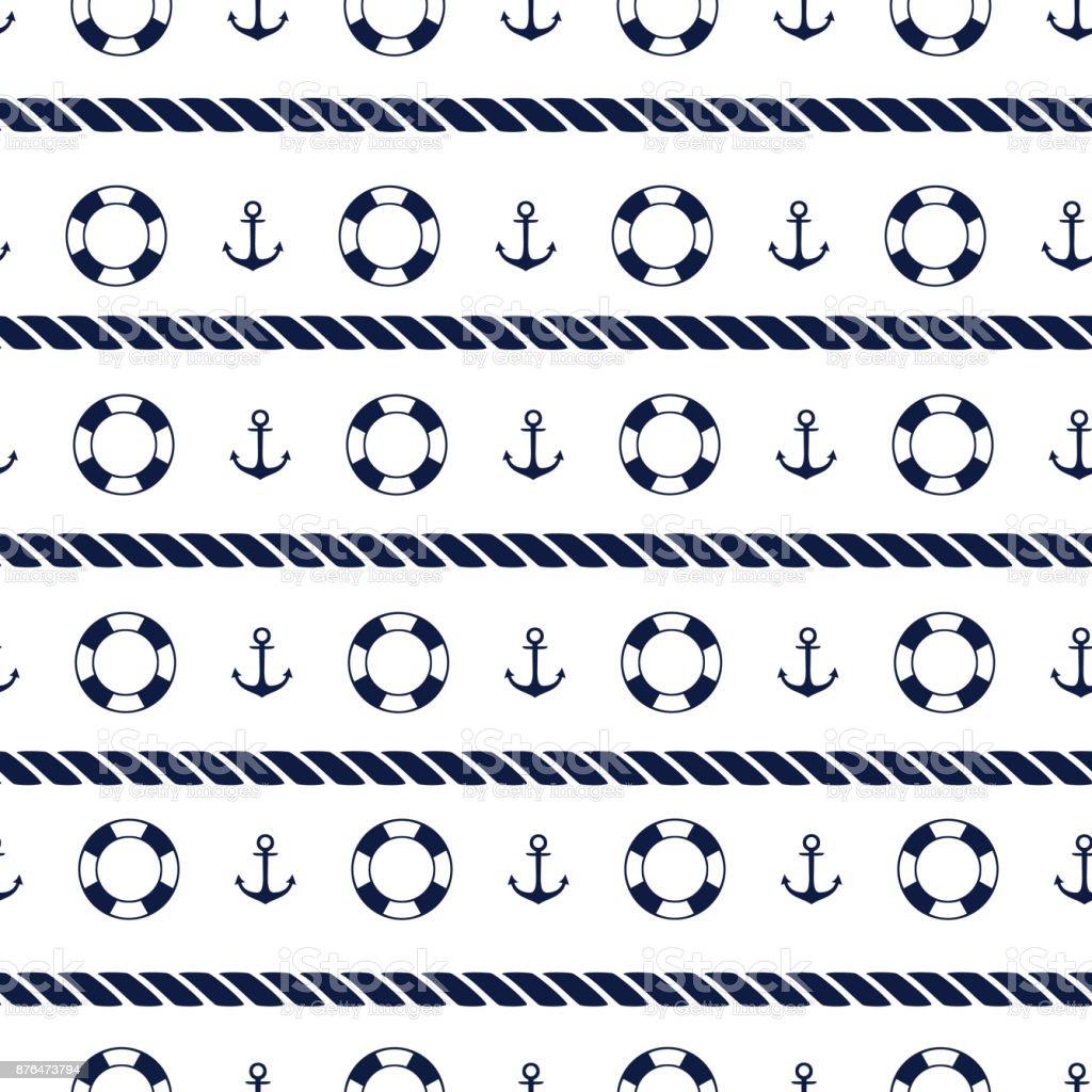 Sea seamless pattern vector art illustration