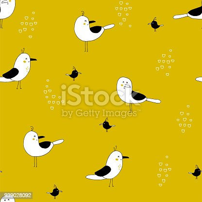 Sea seamless pattern with seagulls. Vector bright background. Can be used for wallpaper, children fashion, stationery, scrapbooking, home decor and textile, fabric prints.