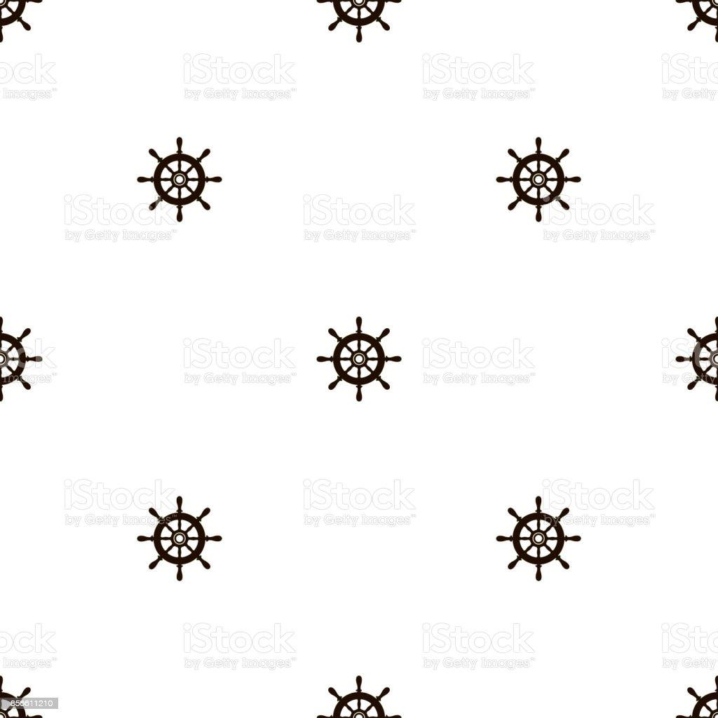 Sea seamless pattern with handwheel background. Vector vector art illustration