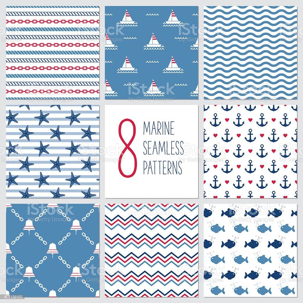 Sea nahtlose Muster, marine-design, marine Elemente – Vektorgrafik
