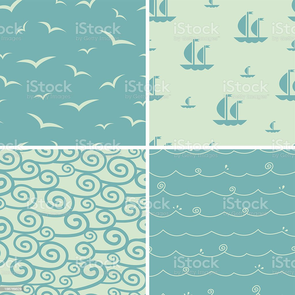 Sea Seamless Patterns Set royalty-free stock vector art