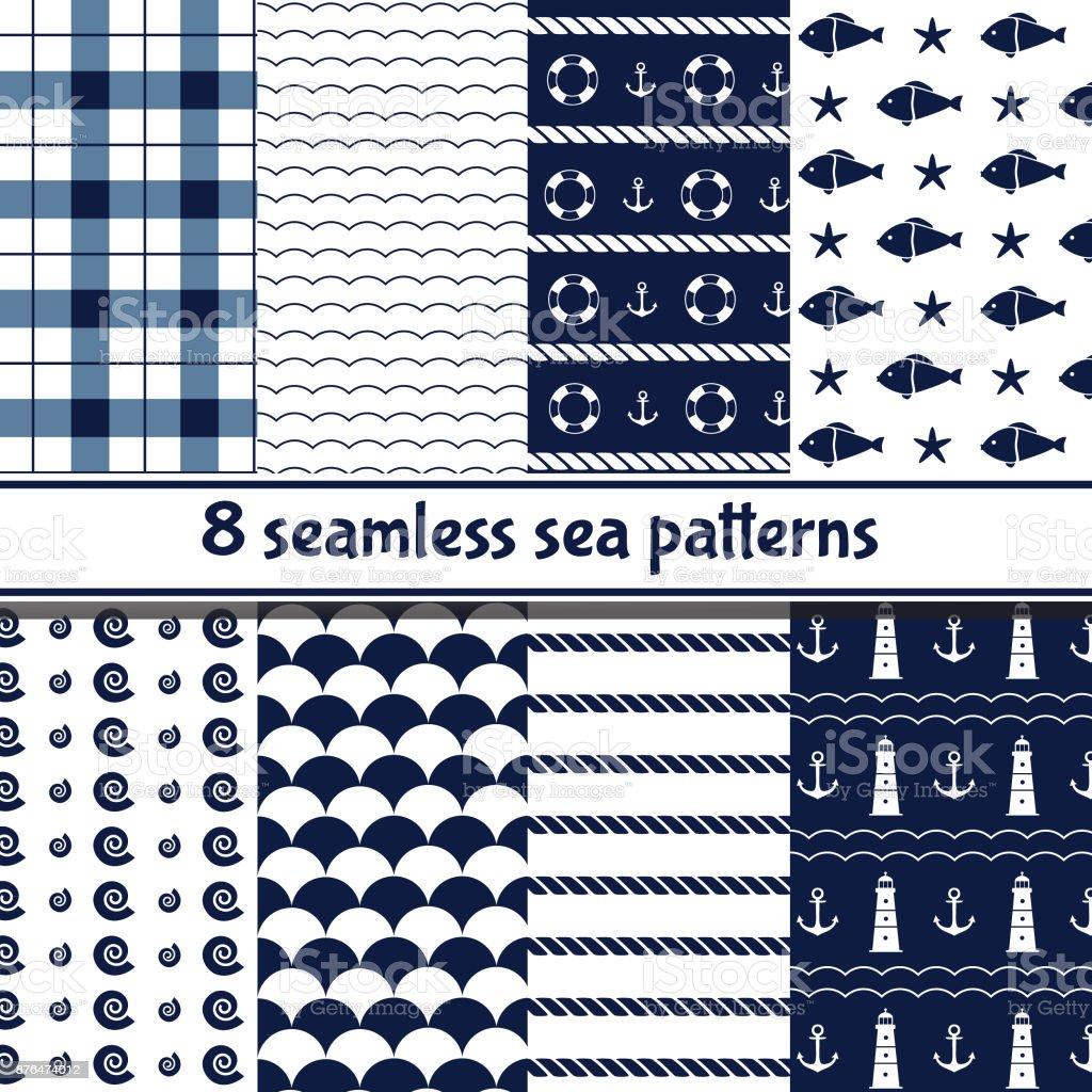 Sea seamless patterns vector art illustration