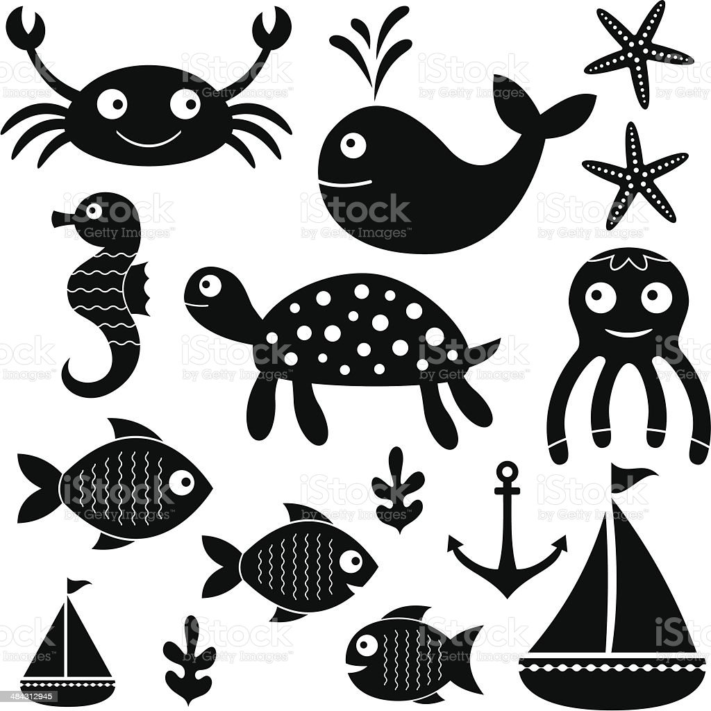 Sea set, isolated vector elements vector art illustration