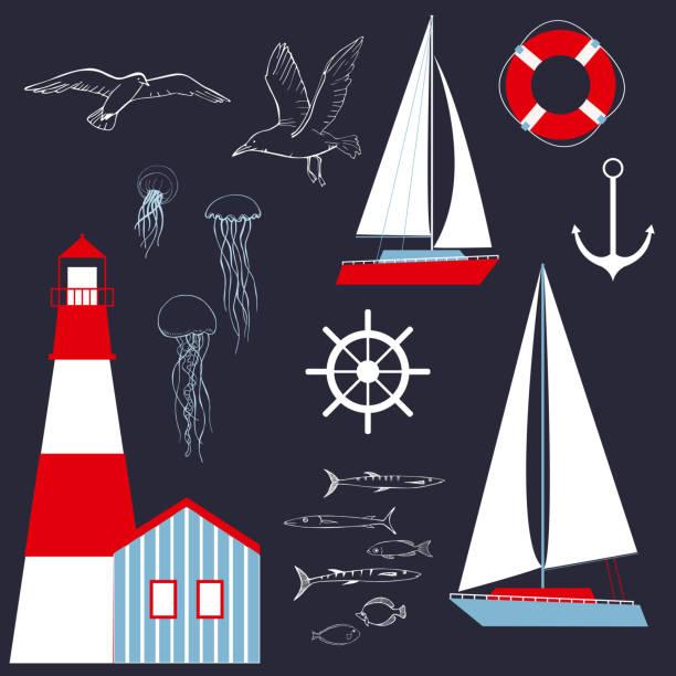 illustrazioni stock, clip art, cartoni animati e icone di tendenza di mare con yacht e faro. - ambientazione tranquilla