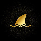 sea, shark, business gold icon. Vector illustration of golden particle background. gold icon