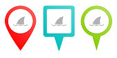 sea, shark, business. Multicolor pin vector icon, diferent type map and navigation point. on white background