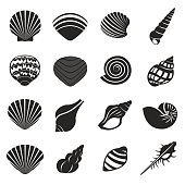 Sea Shell Flat Mono Icons Set