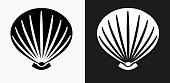 Sea Shell Icon on Black and White Vector Backgrounds. This vector illustration includes two variations of the icon one in black on a light background on the left and another version in white on a dark background positioned on the right. The vector icon is simple yet elegant and can be used in a variety of ways including website or mobile application icon. This royalty free image is 100% vector based and all design elements can be scaled to any size.