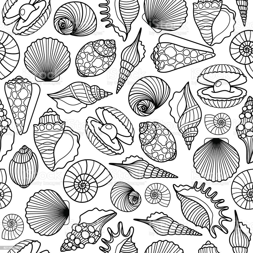 Sea shells black seamless pattern sea shells black seamless pattern - immagini vettoriali stock e altre immagini di arte royalty-free