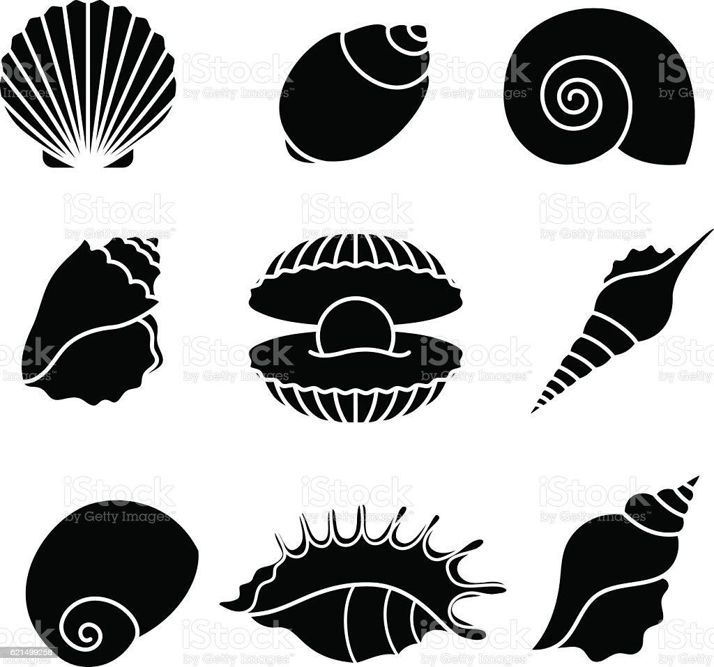 Sea shells silhouettes isolated on white vector art illustration