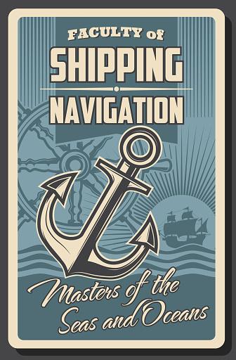 Sea ship helm and anchor. Nautical navigation