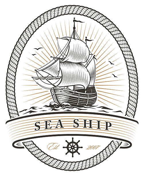 sea ship vintage sea ship emblem pirate ship stock illustrations
