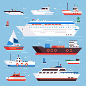Sea ships. Cartoon boat powerboat cruise liner navy shipping ship sailing yacht speed floating sea buoy vessel and marine sail fishing boats isolated front view vector illustration colorful sign set