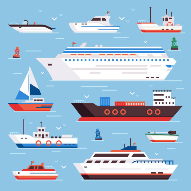 Sea ships. Cartoon boat powerboat cruise liner navy shipping ship and fishing boats isolated front view vector illustration Sea ships. Cartoon boat powerboat cruise liner navy shipping ship sailing yacht speed floating sea buoy vessel and marine sail fishing boats isolated front view vector illustration colorful sign set cruise vacation stock illustrations