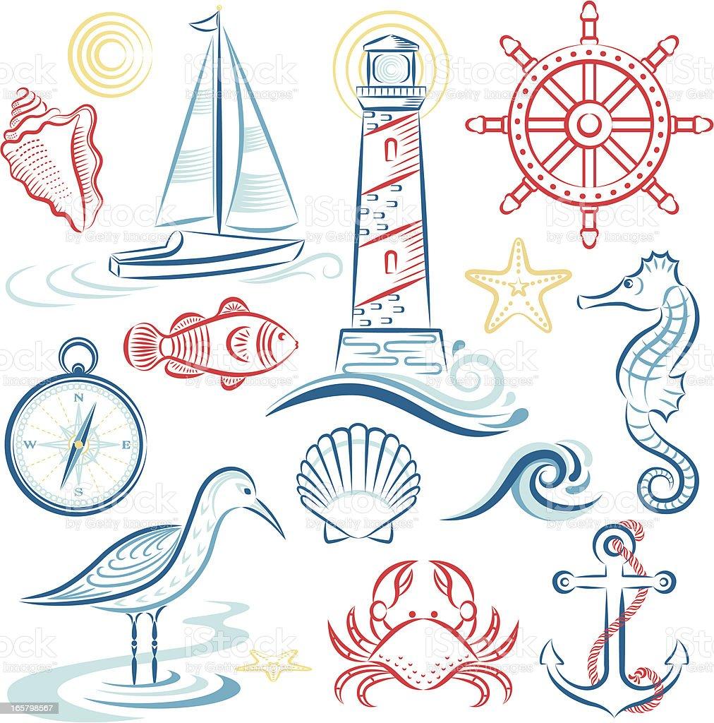 Sea & Shore Set vector art illustration