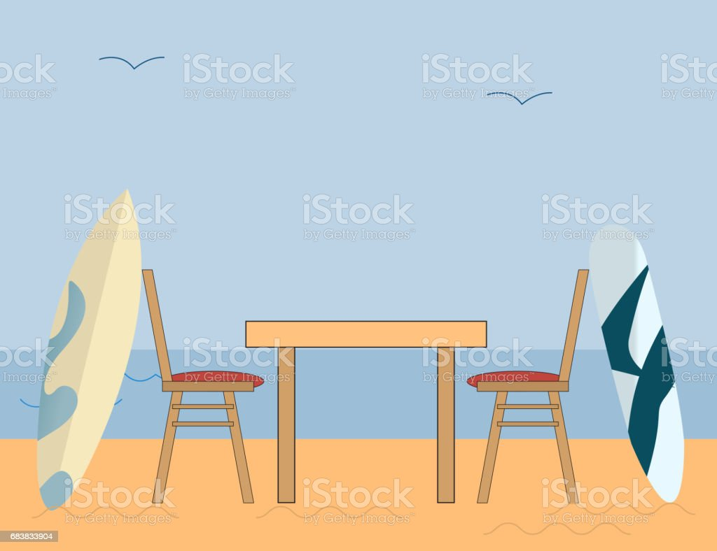 Sea Side Romantic Dinner after Surfing on a Blue Background with Blue sky and Sand. vector art illustration