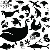 Sea silhouettes set