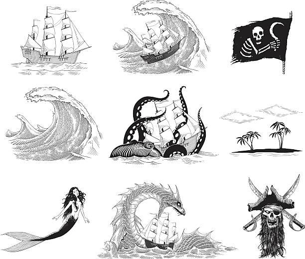 sea stories - krake cephalopode stock-grafiken, -clipart, -cartoons und -symbole