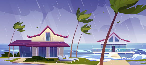 Sea storm and rain on beach with bungalows