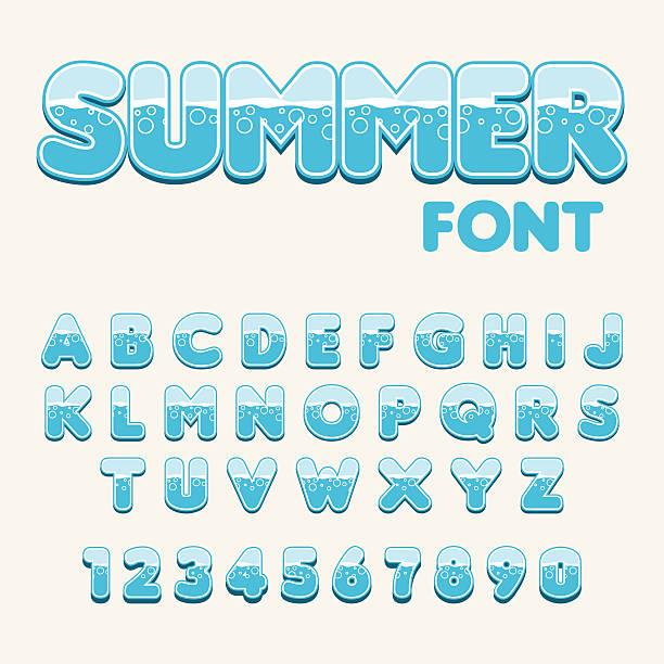 sea stylish font. vector. - bubble fonts stock illustrations