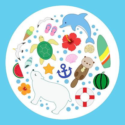 sea summer marine collection round colorline blue illustration