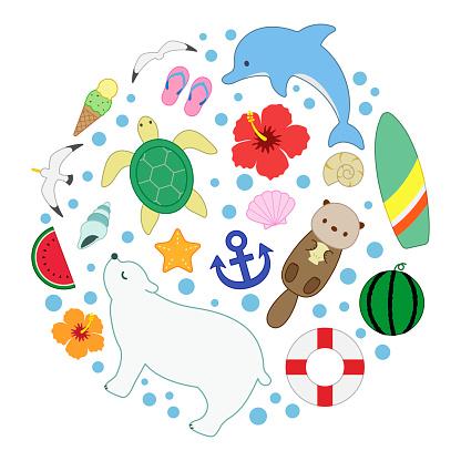 sea summer marine collection round colorline illustration