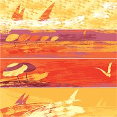 Set of four sea sunset banners. Vector. EPS 8.