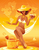 Sea sunset beach people traveling banner, summer holidays symbol. World map background. Vector illustration - bag, starfish, parasol, sexy young girl relaxing in hammock, hawaiian luau party cocktail