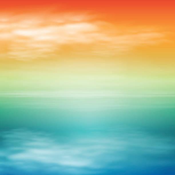 Coucher de soleil sur la mer. Fond Tropical. - Illustration vectorielle