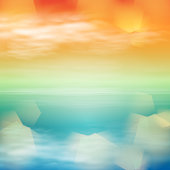 Sea sunset. Tropical background and light on lens. EPS10 vector.