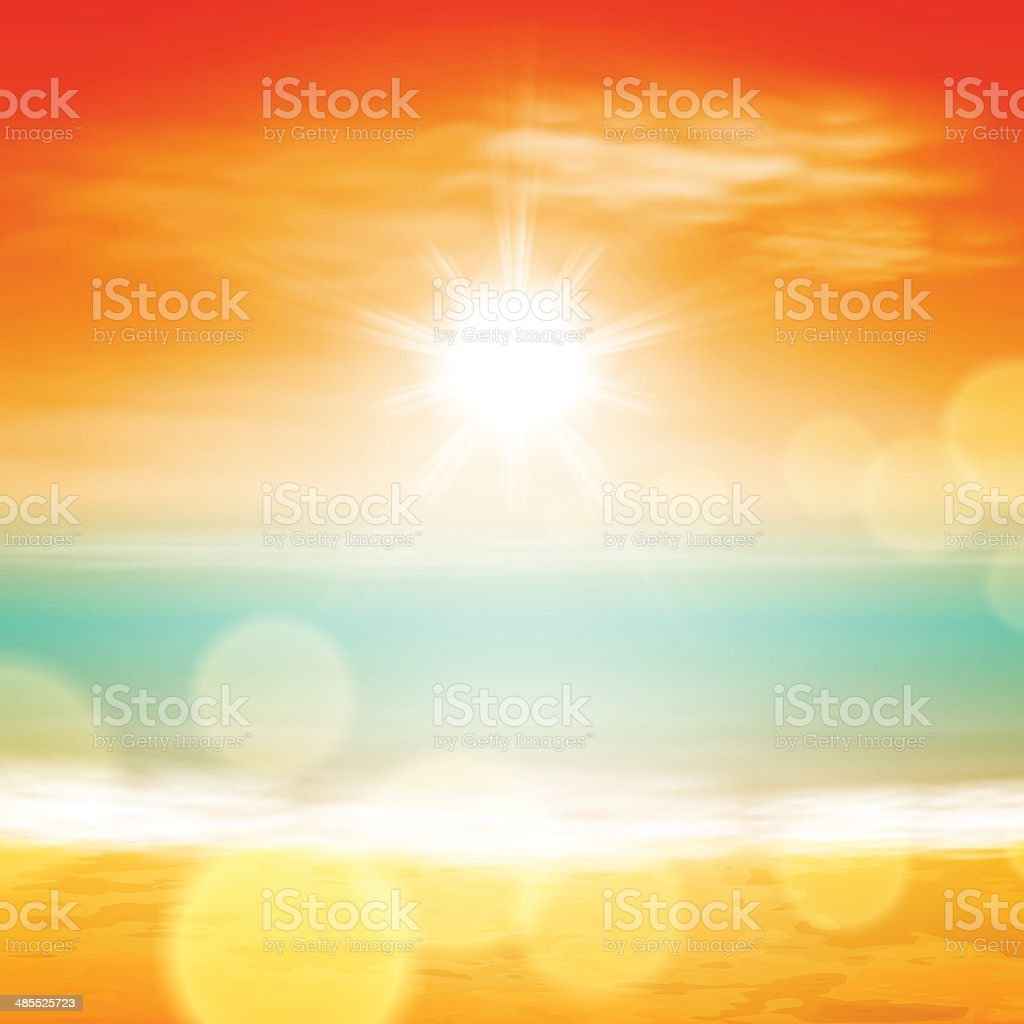 Sea sunset vector art illustration