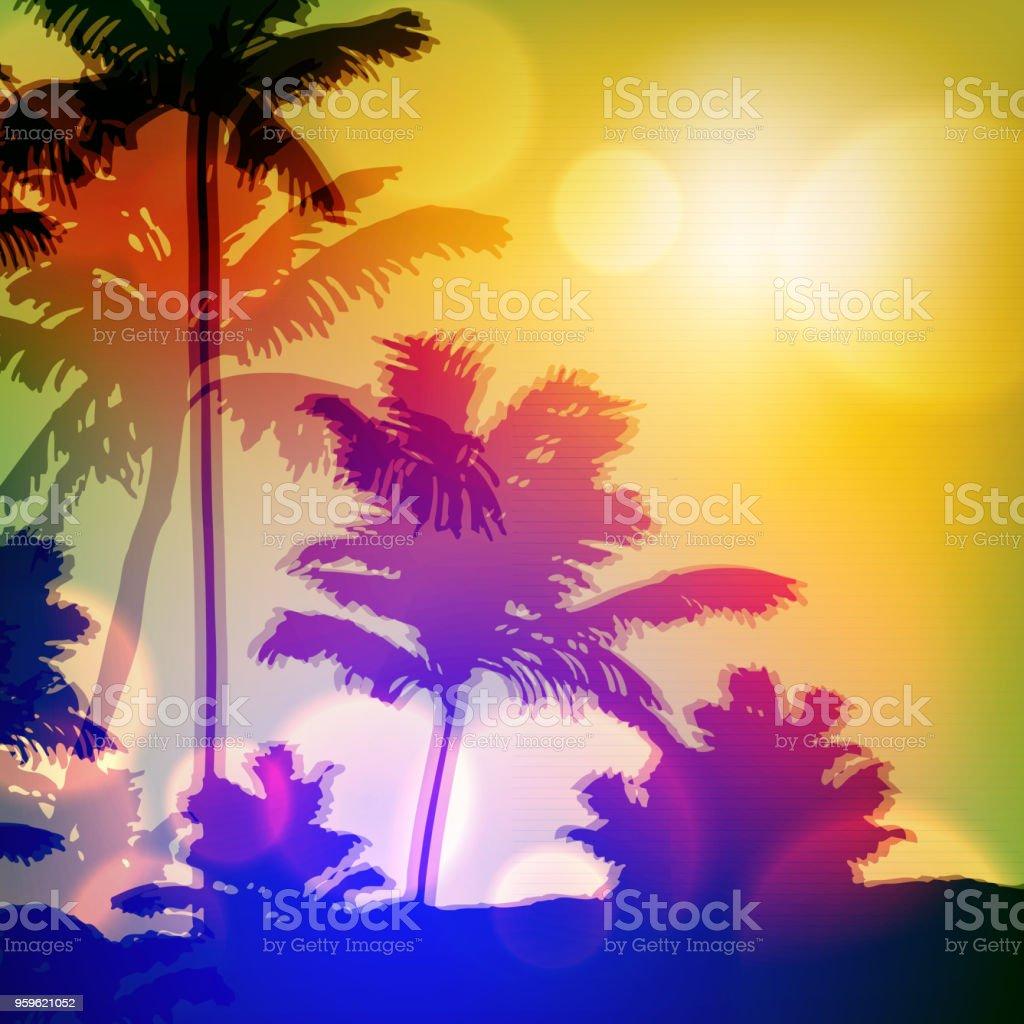 Mar al atardecer con una isla de palmeras y - arte vectorial de Aire libre libre de derechos