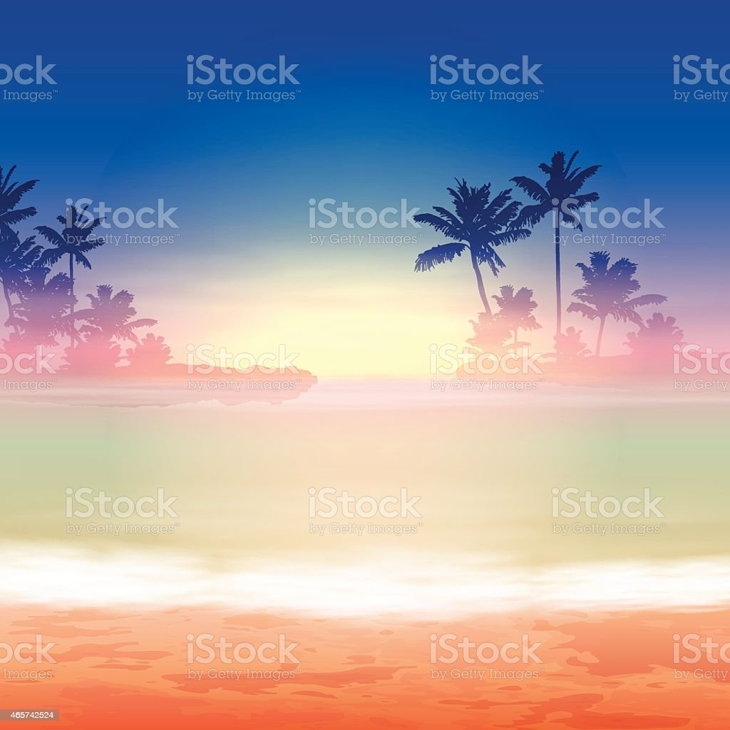 Sea sunset with palm trees vector art illustration
