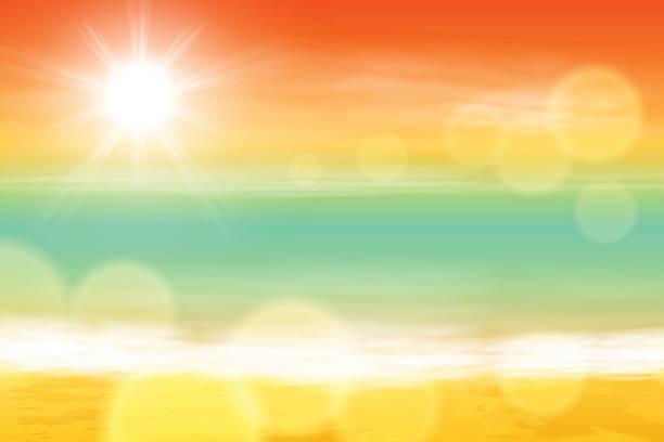 Sea sunset with the sun, light on lens Sea sunset with the sun, light on lens. EPS10 vector. beach backgrounds stock illustrations
