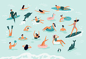 istock Sea swimming. Active people diving, swim with dolphins and surfing. Summer ocean swimming vector illustration 1137973734