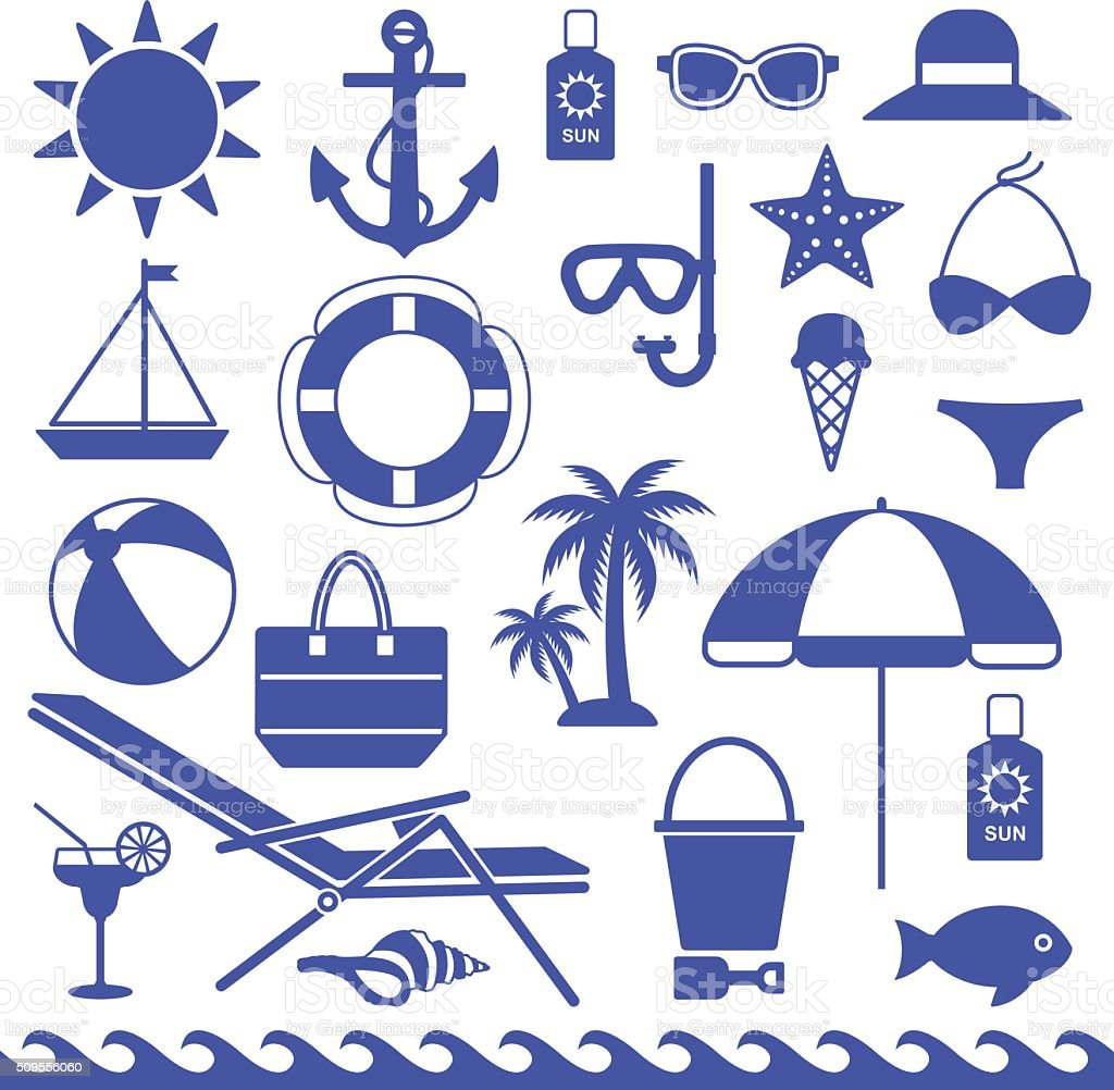 Sea symbols silhouette icons vector set 2 vector art illustration