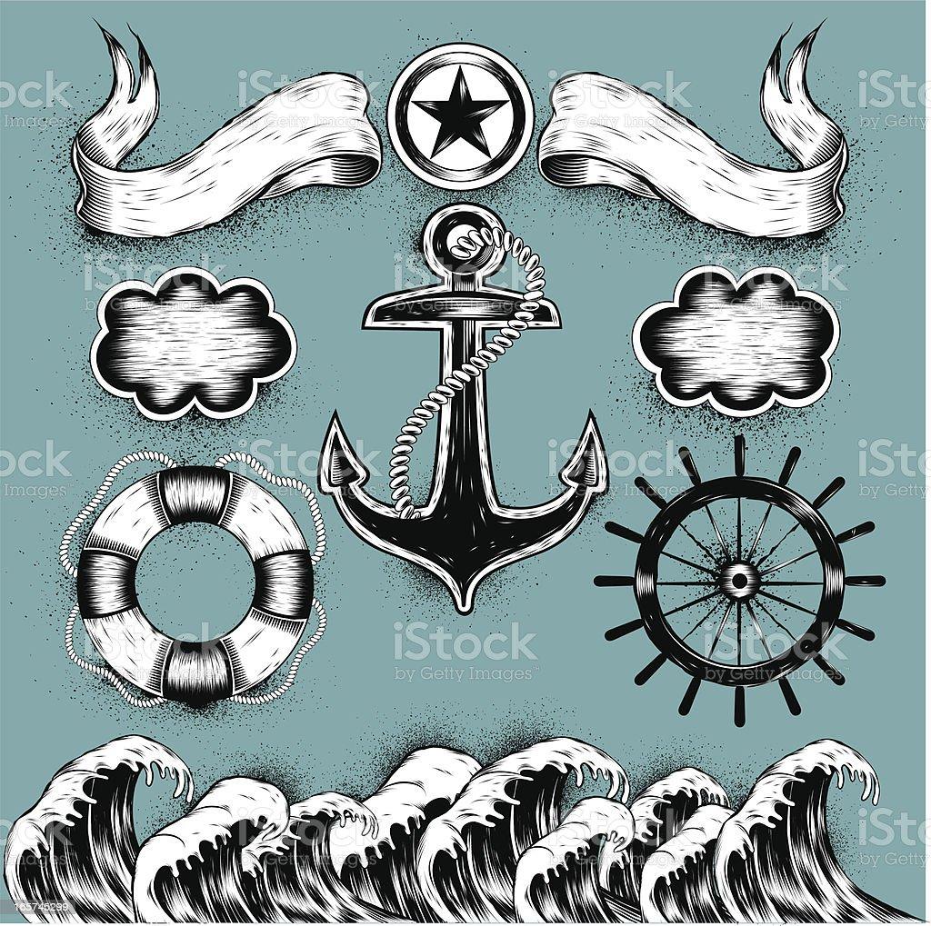 sea tattoos vector art illustration