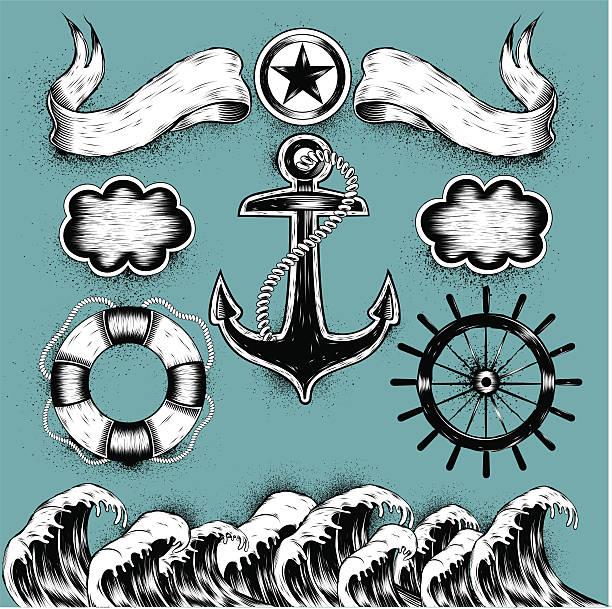 ilustraciones, imágenes clip art, dibujos animados e iconos de stock de tatuajes al mar - tatuajes náuticos